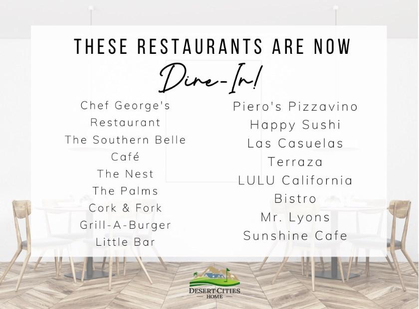 List of restaurants open in dine in